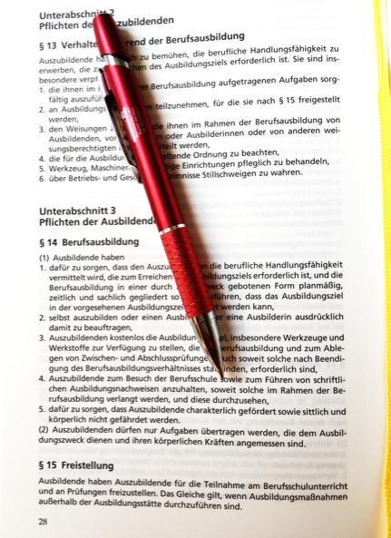 Manchmal ist es hilfreich, in das zuständige Gesetz, das Berufsbildungsgesetz BBiG zu schauen. Dort ist die Berufsausbildung genau geregelt. Das sind die Spielregeln. Auch für die Chefs.